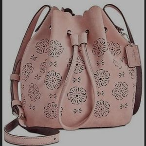 Coach cutout tea rose mini bucket bag